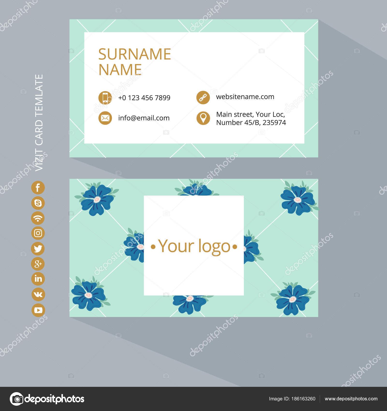 Couleurs Bleu Or Et Turquois Nettoyer Le Design Plat Illustration Vectorielle Maquette De Carte Visite Avec Motif Fleurs Sur