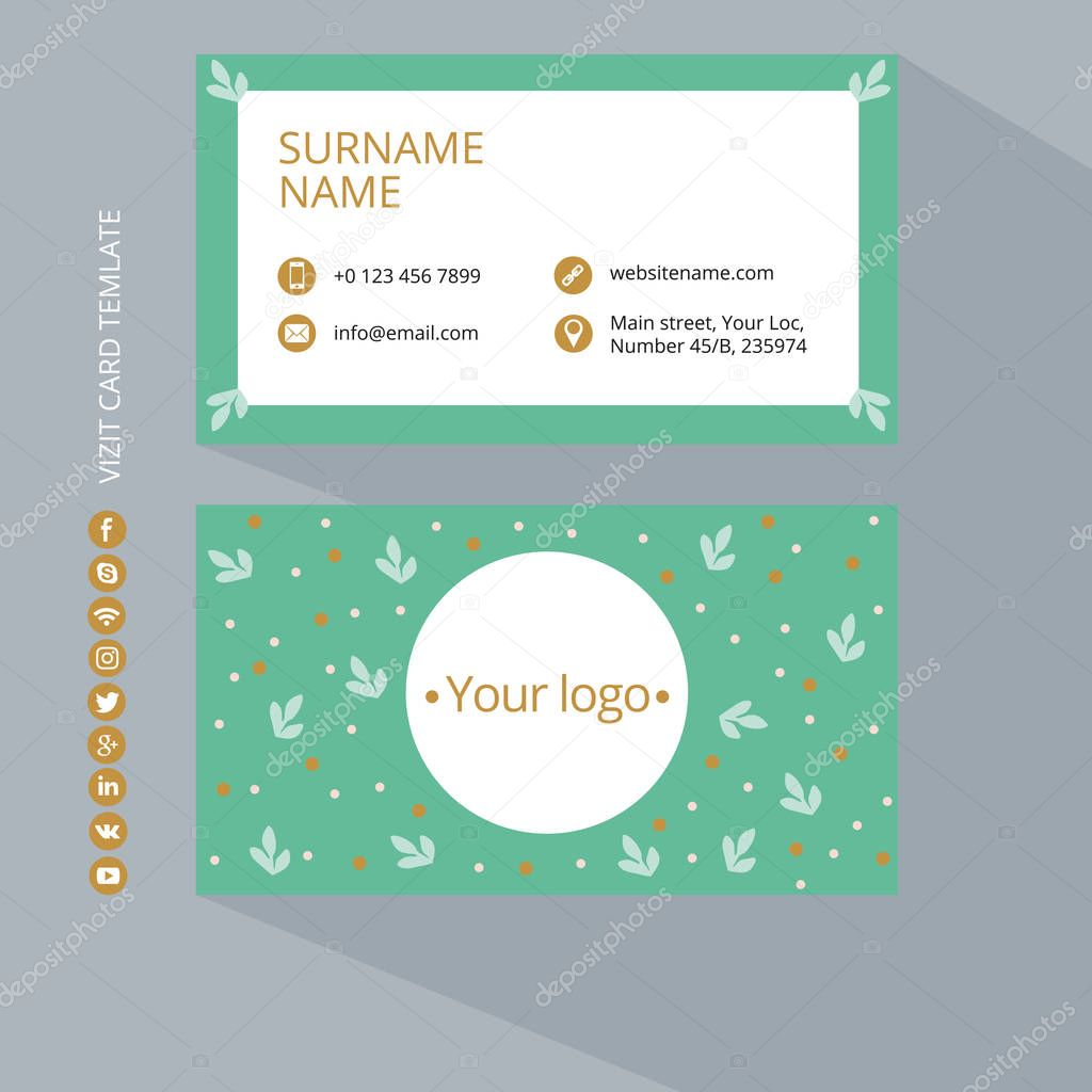 Business card print template with icons of social networks. Green and gold colors. Clean flat design. Vector illustration. Business card mockup with flower pattern on a gray background.