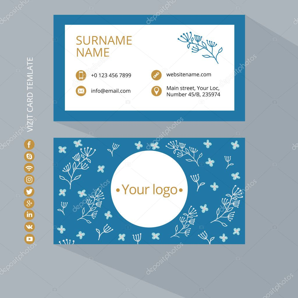 Business card print template with icons of social networks. Blue and gold colors. Clean flat design. Vector illustration. Business card mockup with flower pattern on a gray background.