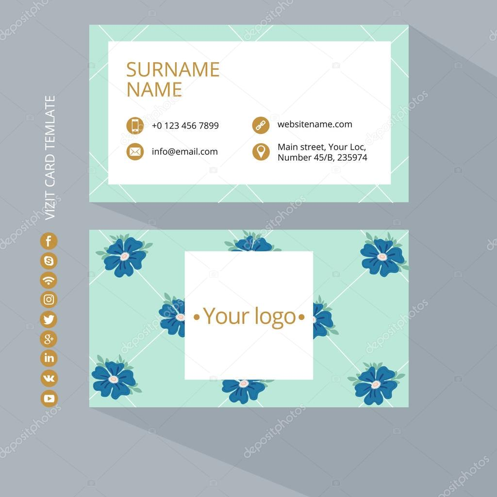 Business card print template with icons of social networks. Blue, gold and turquois colors. Clean flat design. Vector illustration. Business card mockup with flower pattern on a gray background.