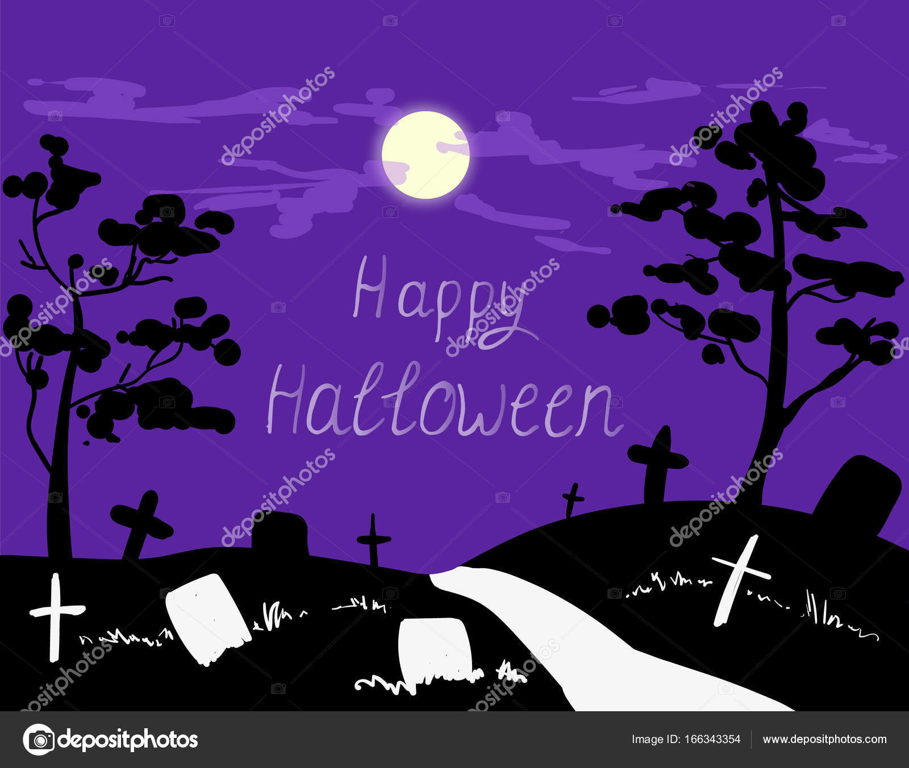 halloween cemetery moonlight landscape — stock vector © mimomy