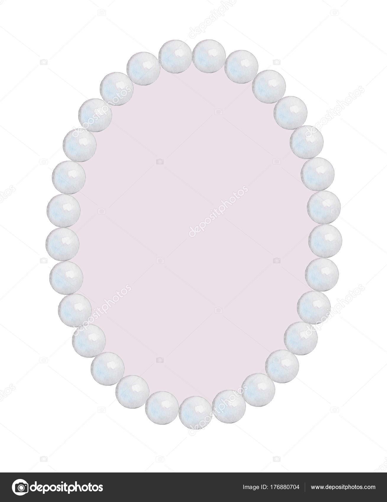 Ovale Rahmen-Perlenkette, Aquarell Malerei — Stockfoto © mimomy ...