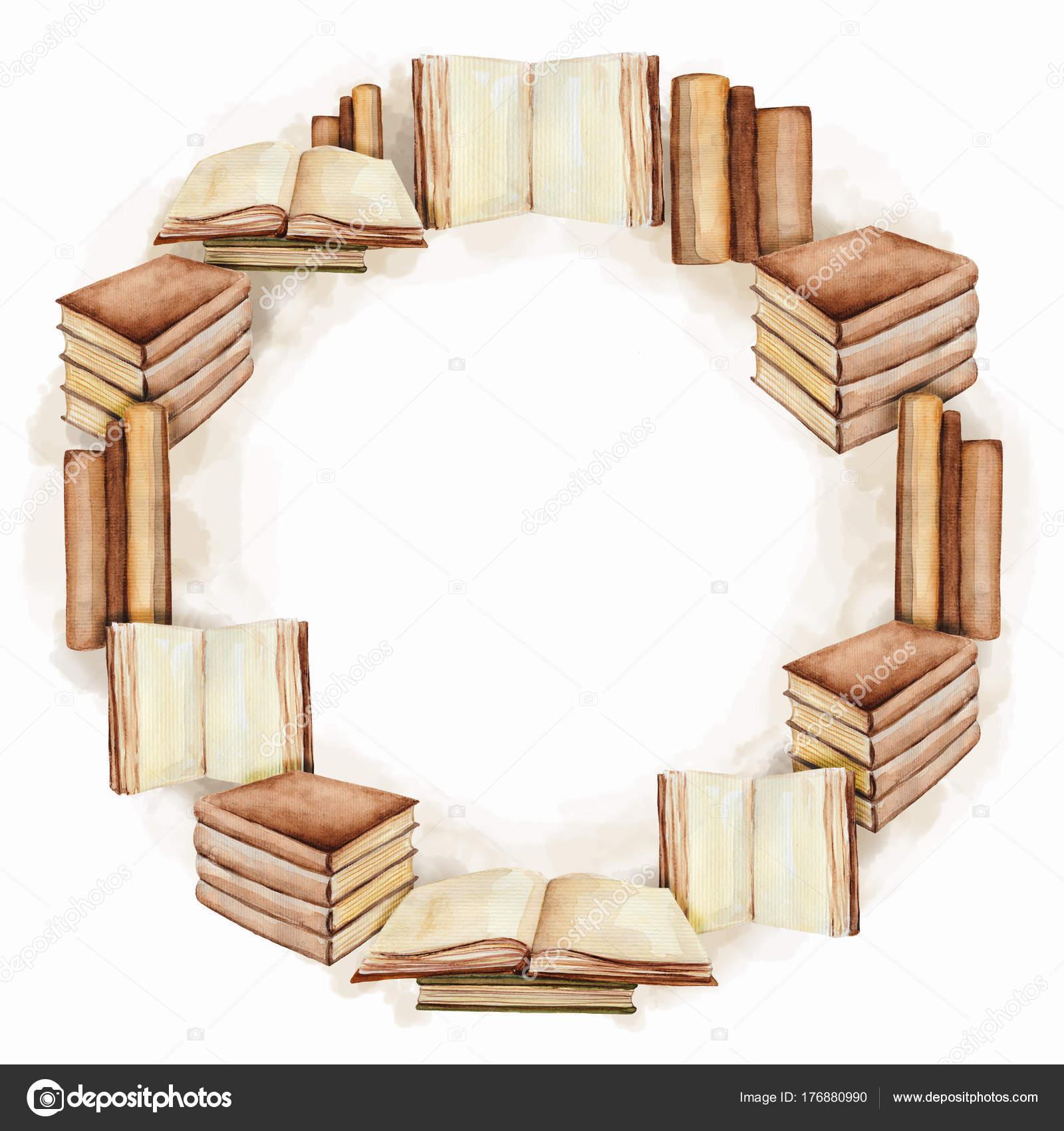 Runde Rahmen mit Bücher, Aquarell Malerei — Stockfoto © mimomy ...