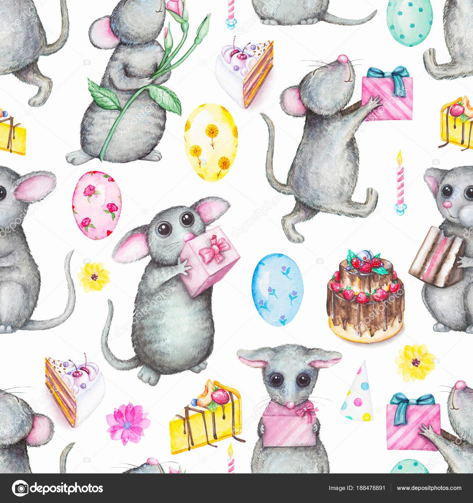 Acuarela de patrones sin fisuras con ratones, regalos, globos ...