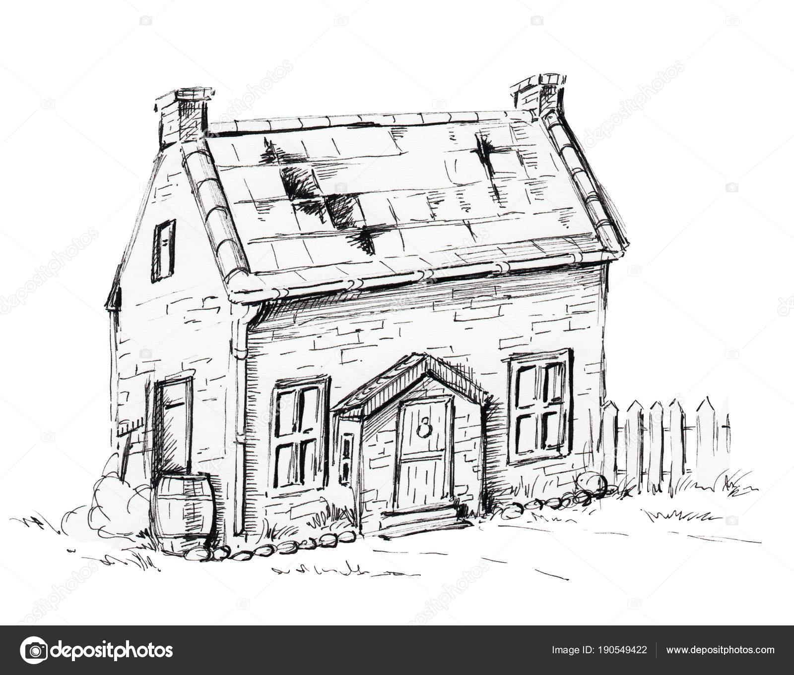 Grafischen Altes Haus Auf Rasen Stockfoto C Mimomy 190549422
