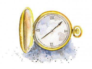 Watercolor golden pocket watch