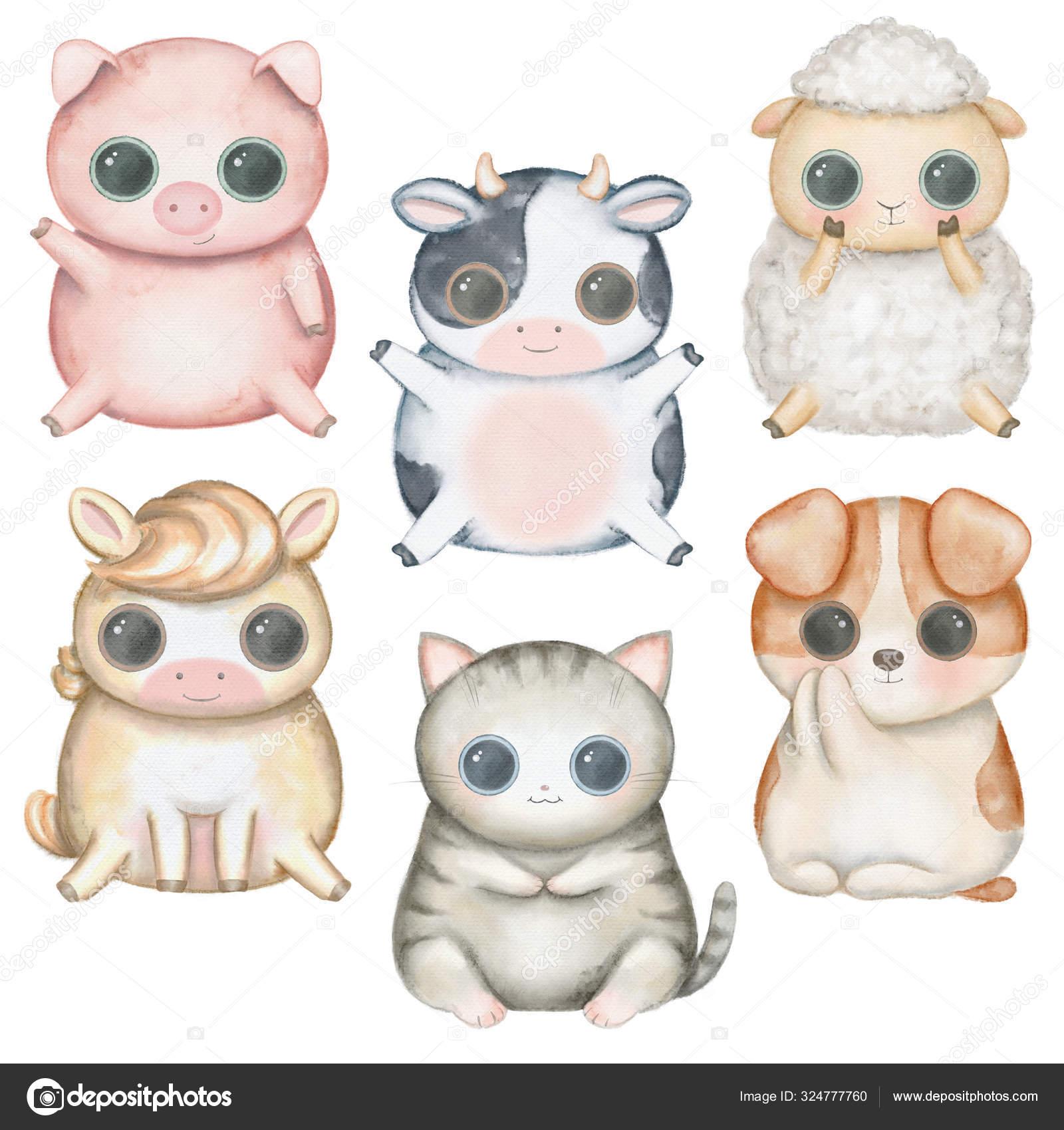 Set Kawaii Cartoon Cute Pig Sheep Cat Dog Horse Cow Stock Photo