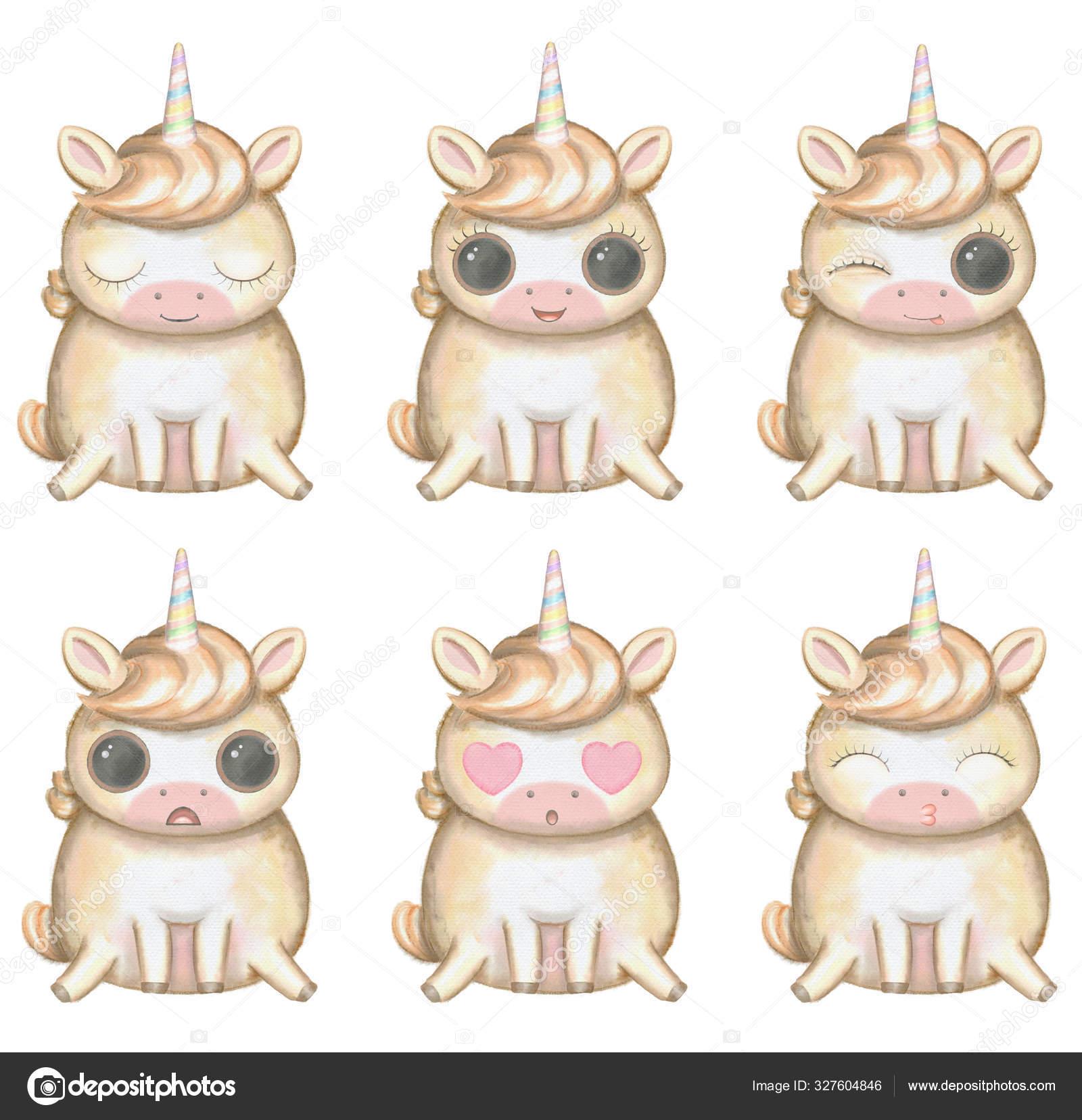 Funny Kawaii Cartoon Cute Unicorn Big Eyes Six Versions Different