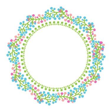 Spring floral border  isolated on white background. Vector illustration. Flat design for greeting card, leaflet, poster, cover or photo frame.