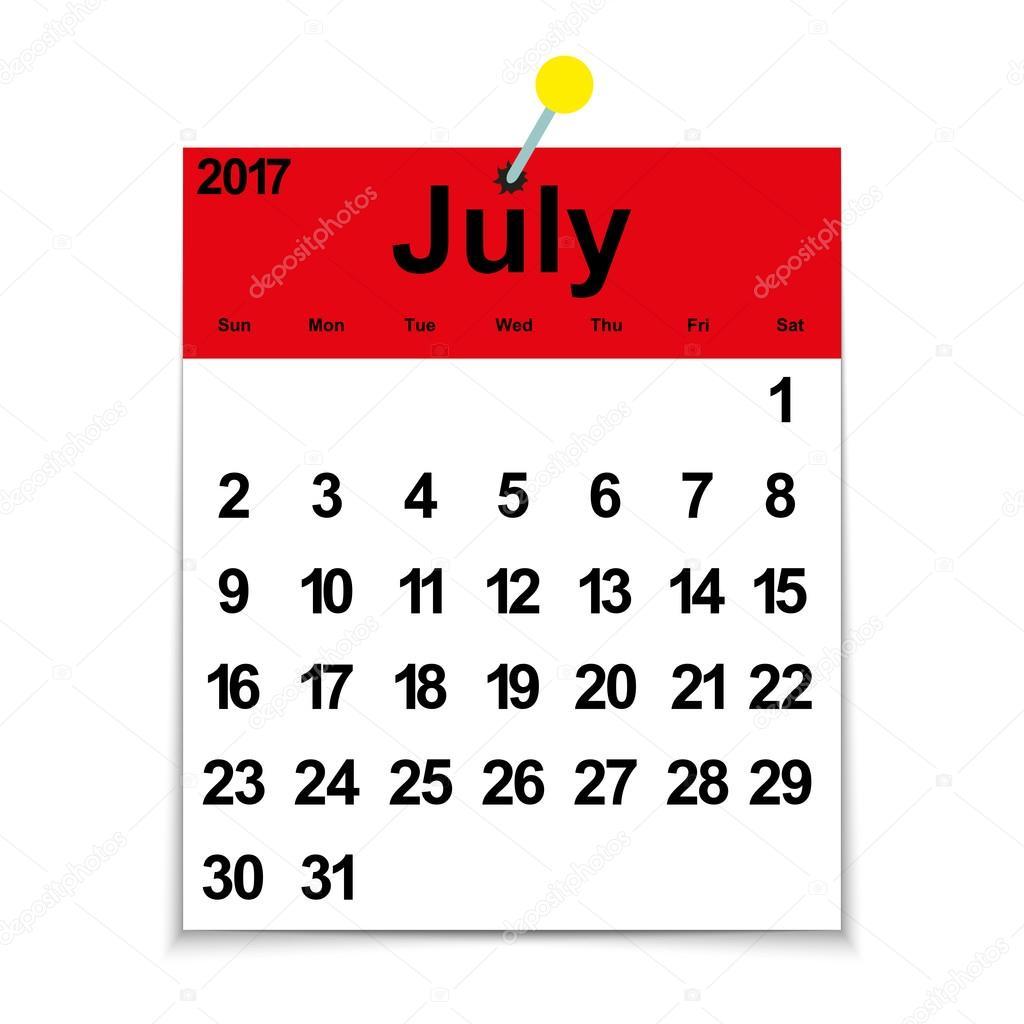 Calendario Di Luglio.Calendario Di Foglia 2017 Con Il Mese Di Luglio Vettoriali