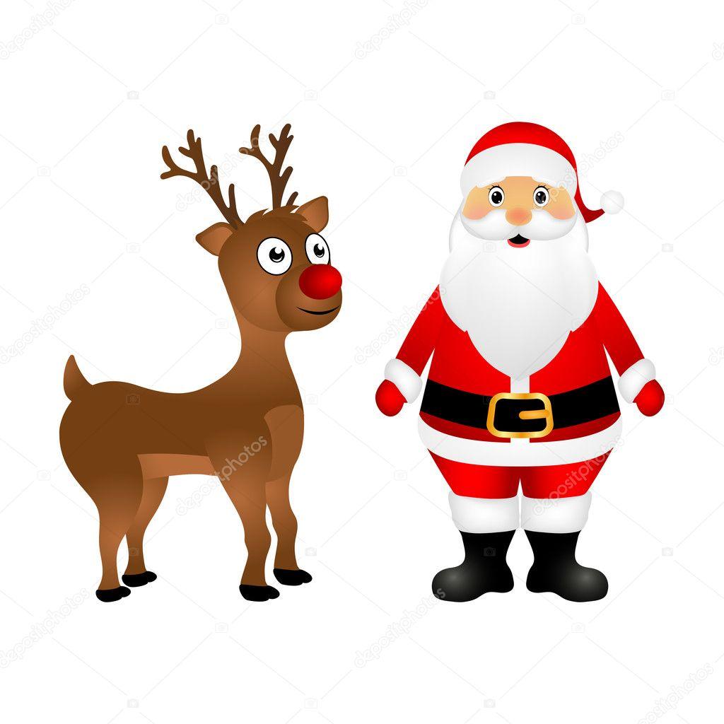 Immagini Di Renne Di Babbo Natale.Renne Di Babbo Natale E Natale Sono In Piedi Vettoriali