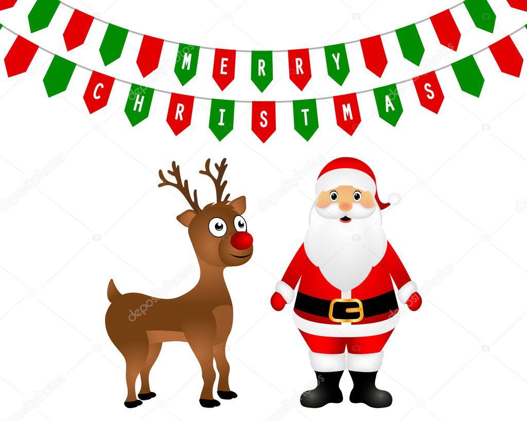 Renne Di Babbo Natale E Natale Sono In Piedi Vettoriali Stock