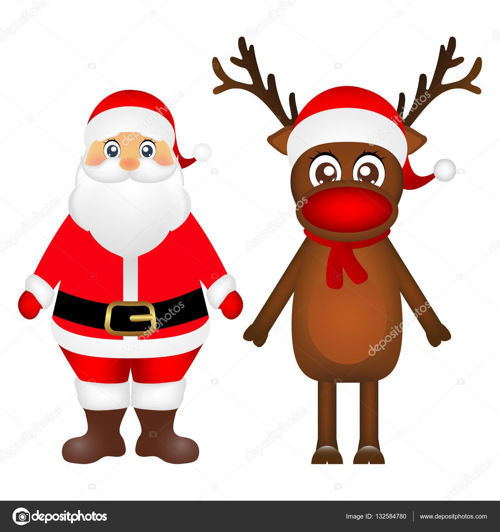 Immagini Renna Di Babbo Natale.Renne Di Babbo Natale E Natale Sono In Piedi Su Un Backg