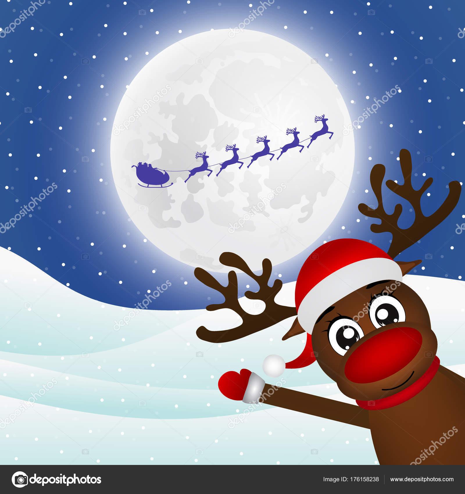 Babbo Natale Zampa.Agitando La Sua Zampa Nella Foresta Di Babbo Natale Renna