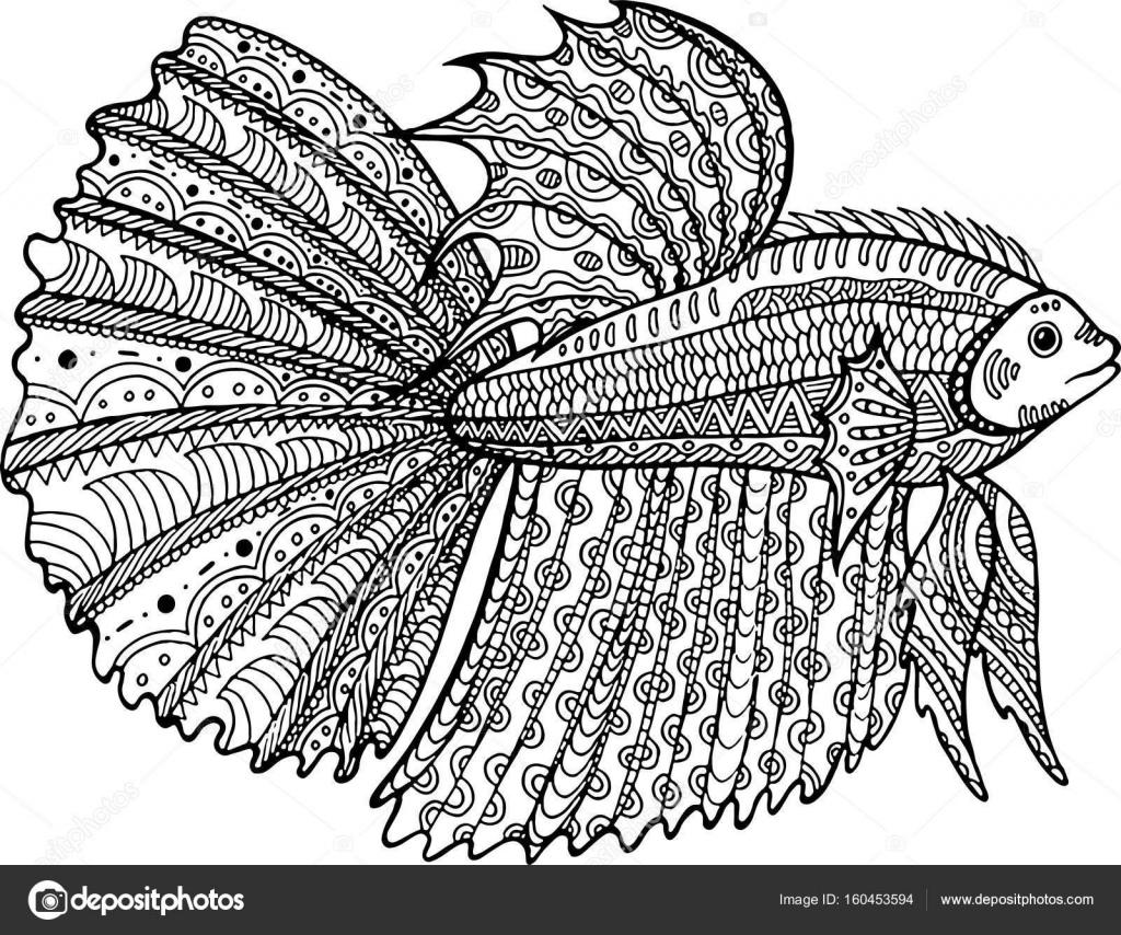 Betta fish hand drawn coloring page — Stock Vector © fesleen #160453594