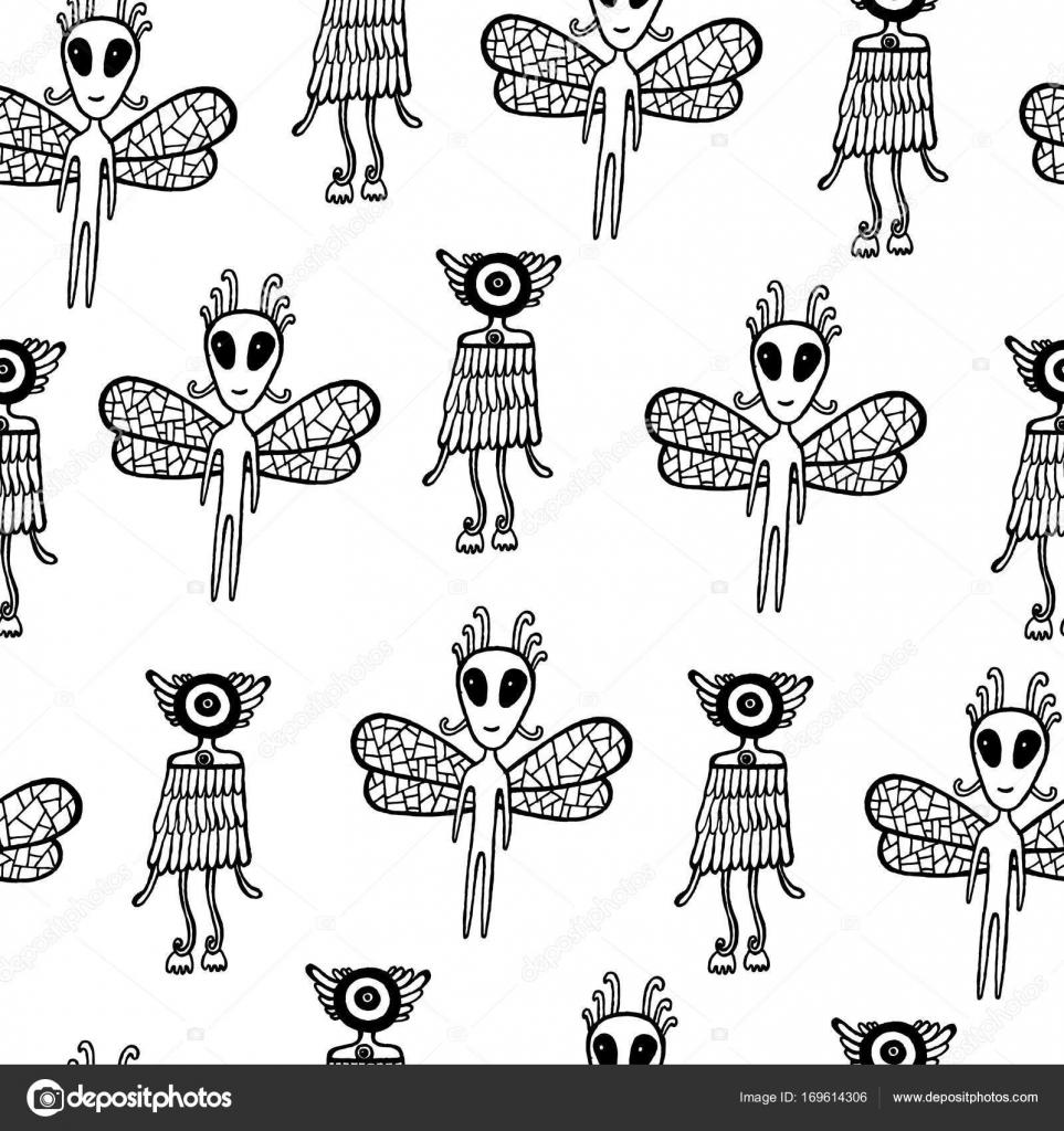 UFO alien de patrones sin fisuras. Página para colorear para niños ...