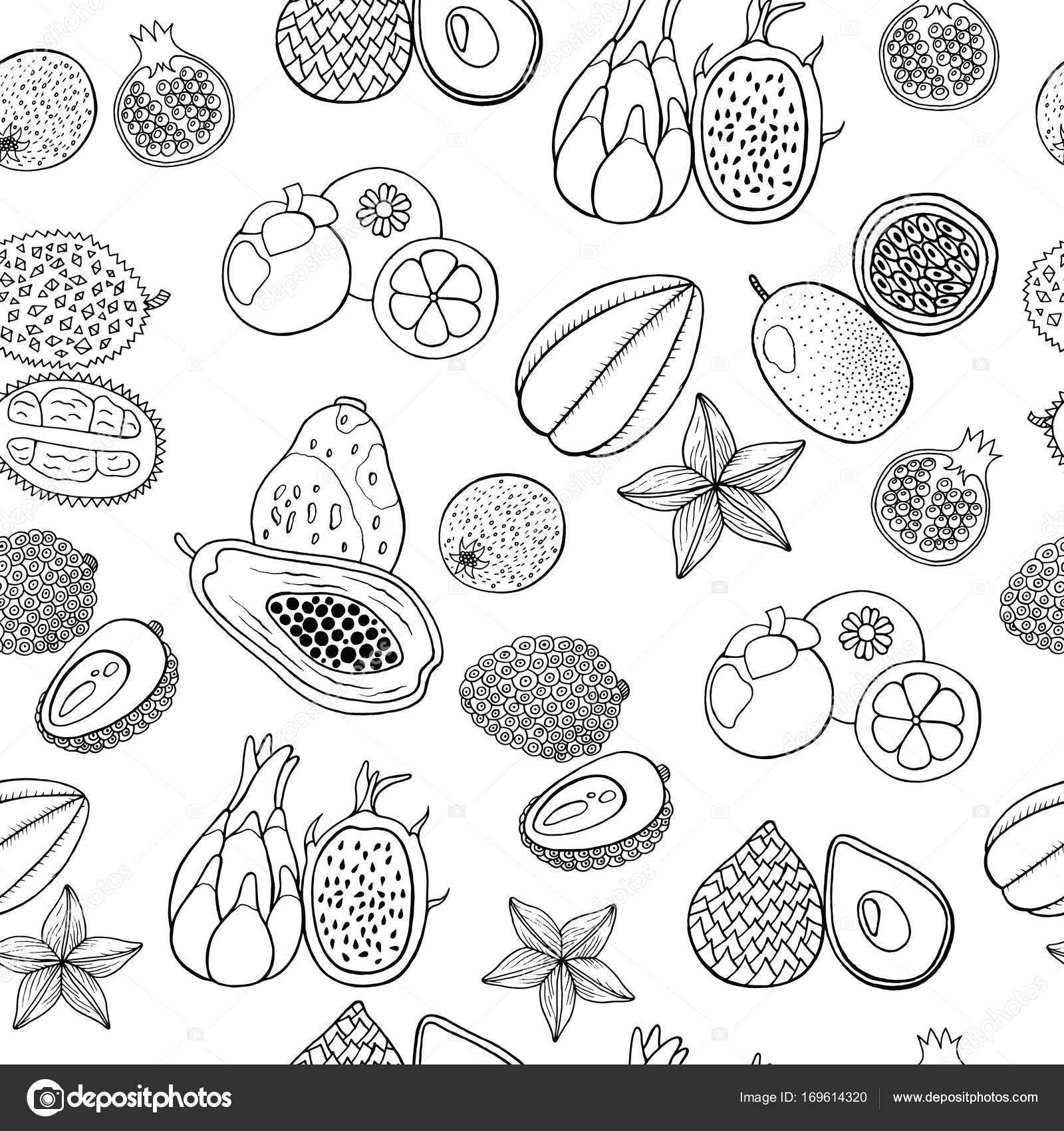 Patron dibujado a mano sin costura con frutas exóticas tropicales ...
