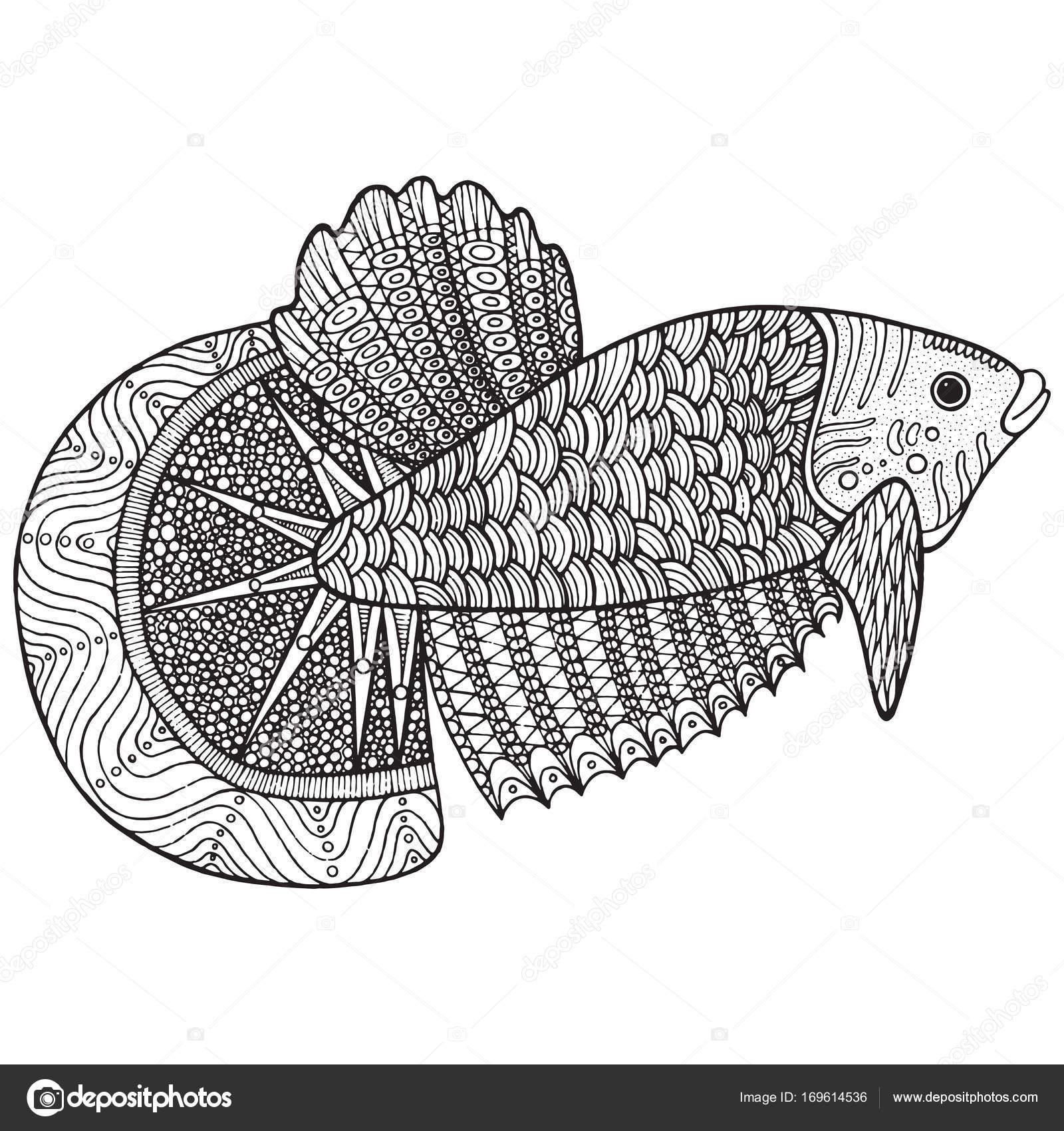 Página con zentangle peces para colorear — Vector de stock © fesleen ...