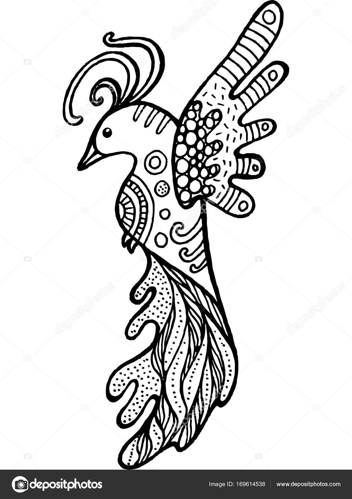 Cartoon Grappige Vogel Kleurplaat Hand Getrokken Doodle Zentangle