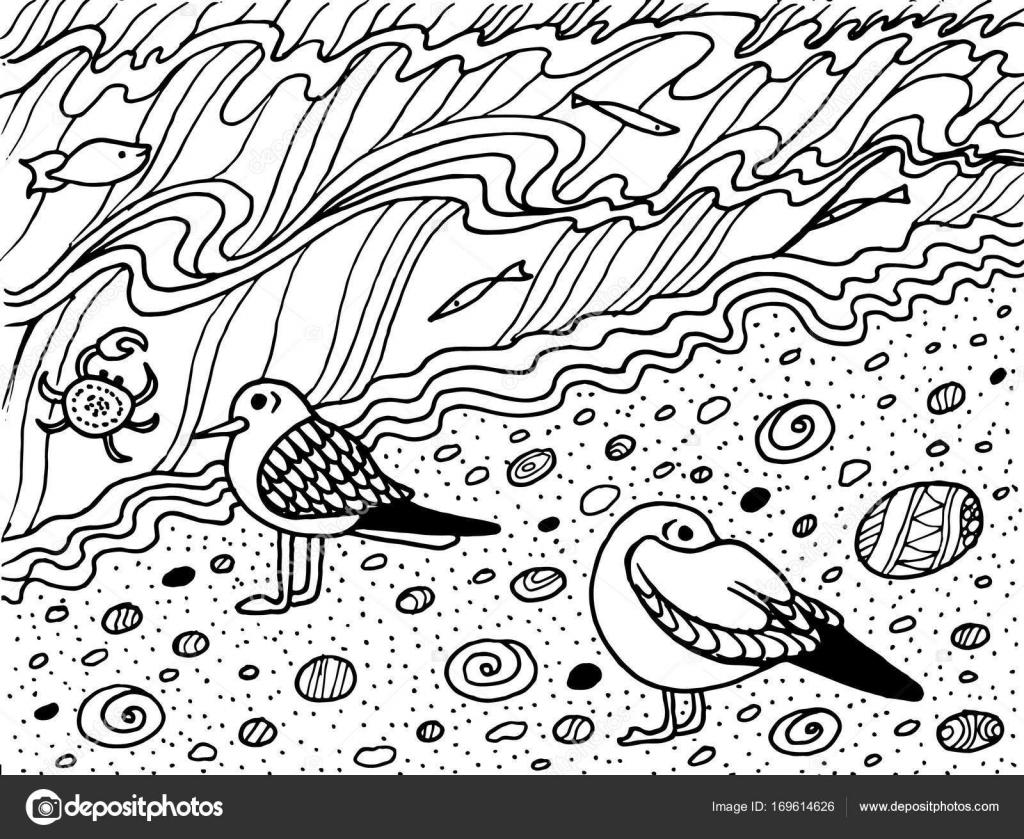 Kleurplaten De Zee.Kleurplaat Met Zeemeeuw En Zee Stockvector C Fesleen 169614626