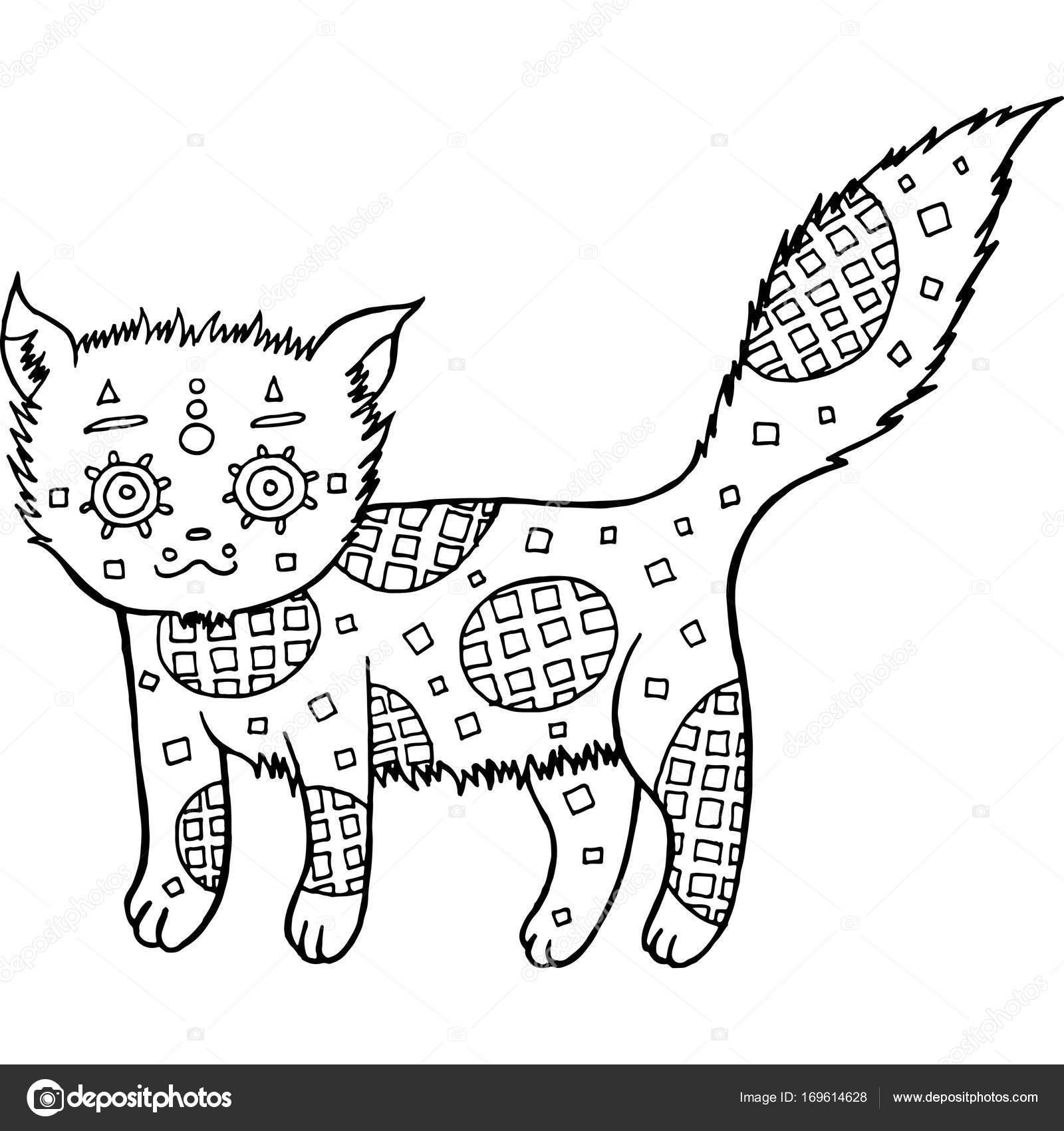 Mano dibuja gato página para colorear — Vector de stock © fesleen ...