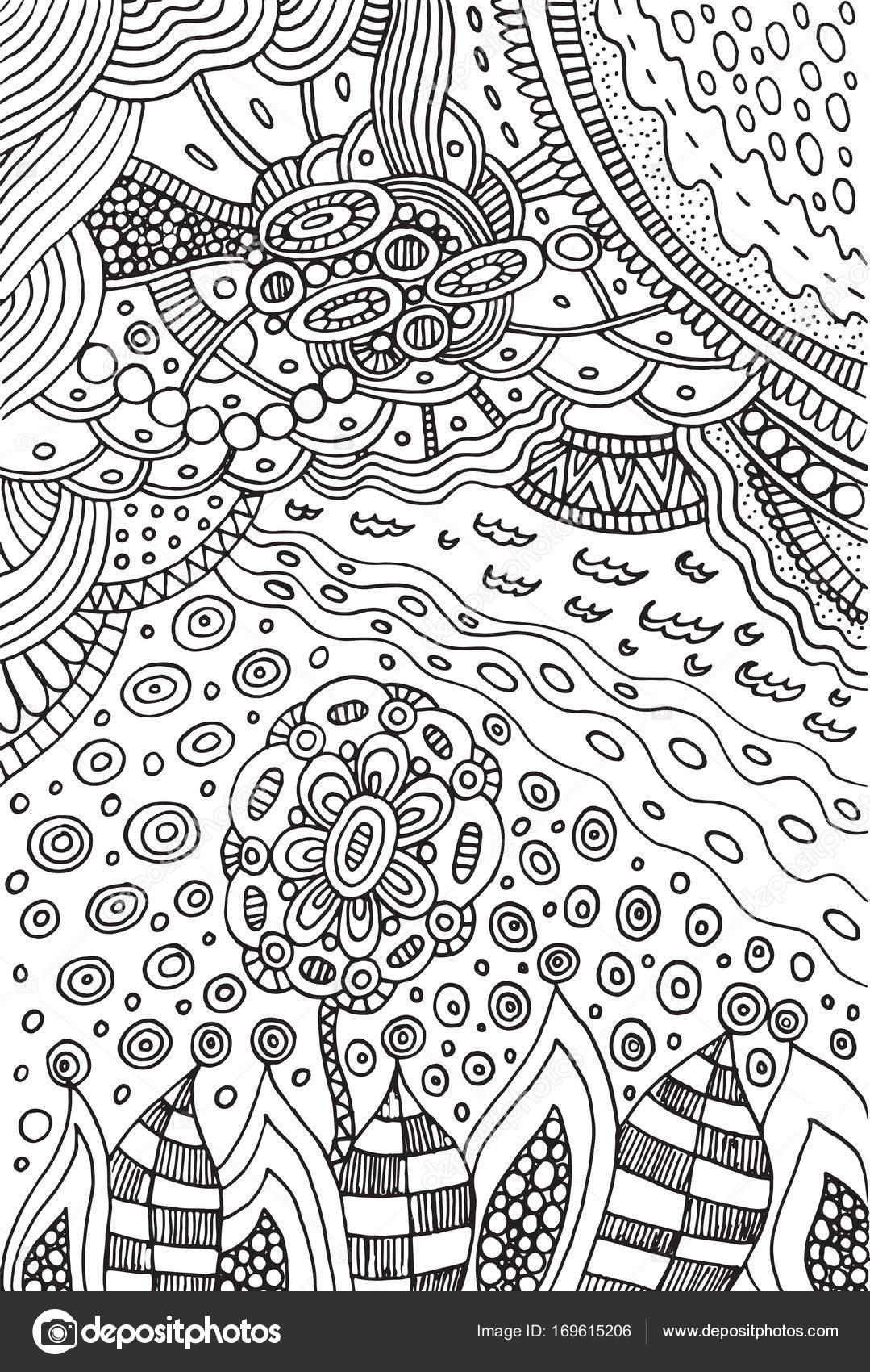 Coloring page with doodle flower and landscape — Stock Vector ...