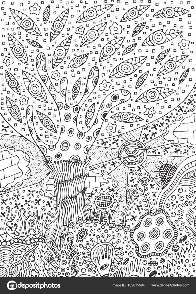 depositphotos stock illustration coloring page with surreal landscape