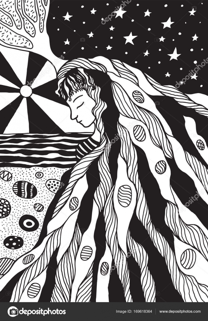 Fantezi Kız Saç Ve Deniz Manzara Boyama Sayfası Stok Vektör