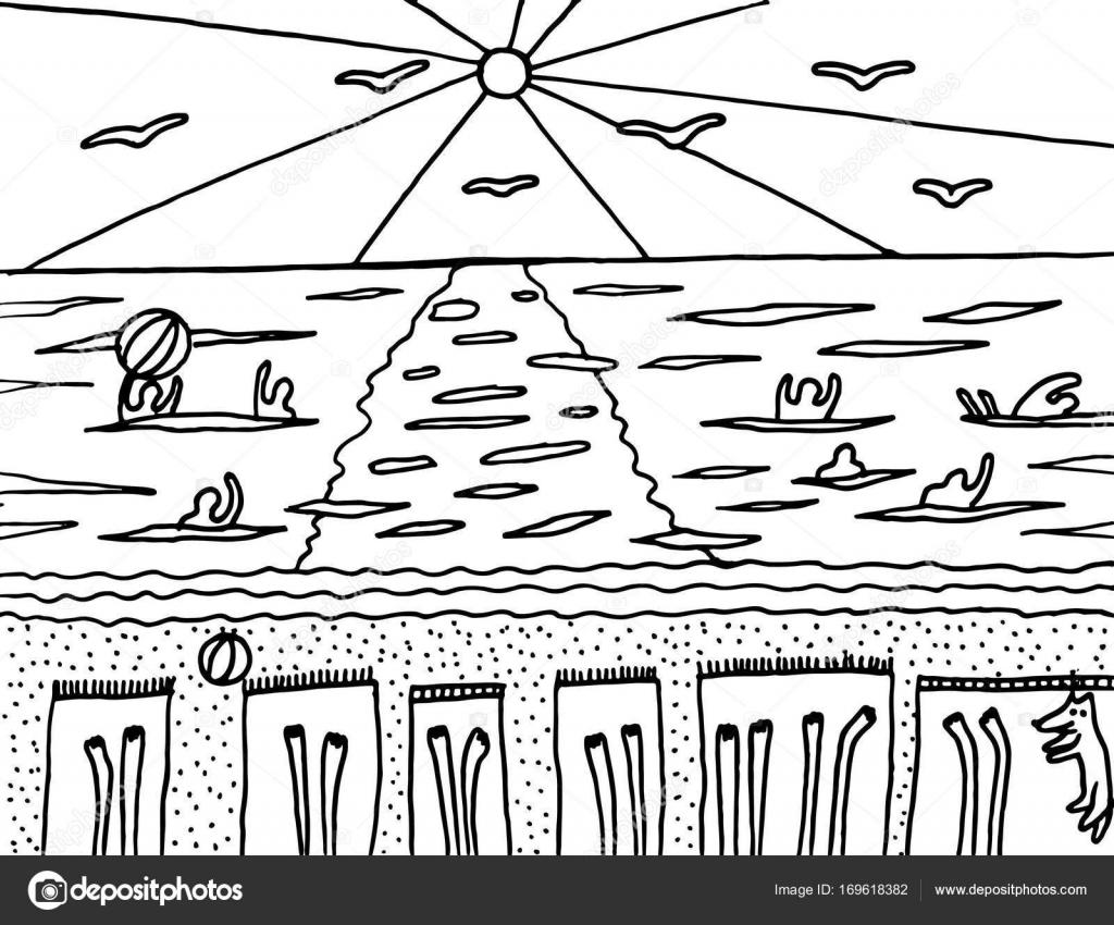 Malvorlagen mit Sommerstrand Vektor — Stockvektor © fesleen #169618382