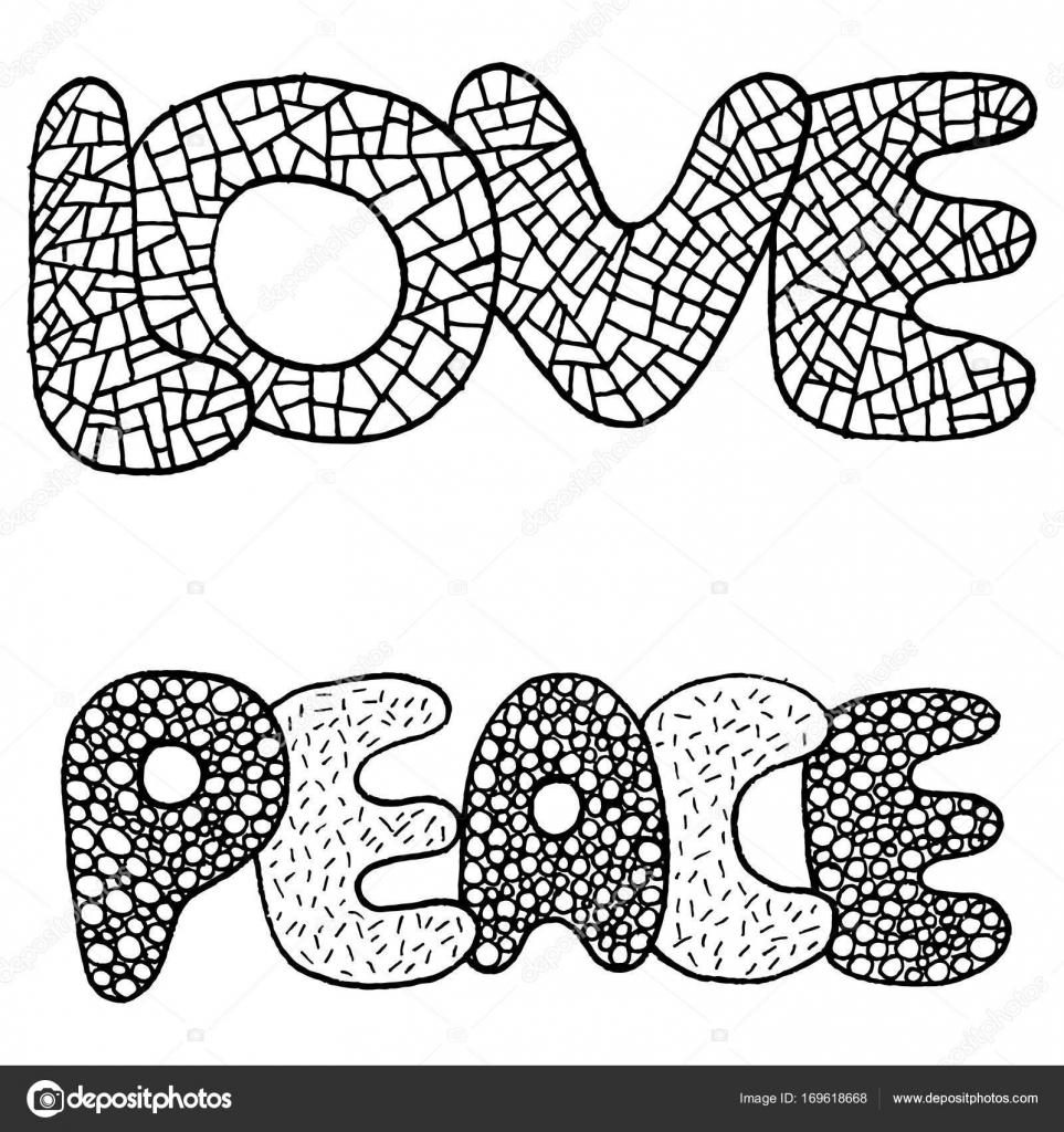 Kleurplaten De Liefde.Kleurplaat Met Woord Van Liefde En Vrede Stockvector C Fesleen