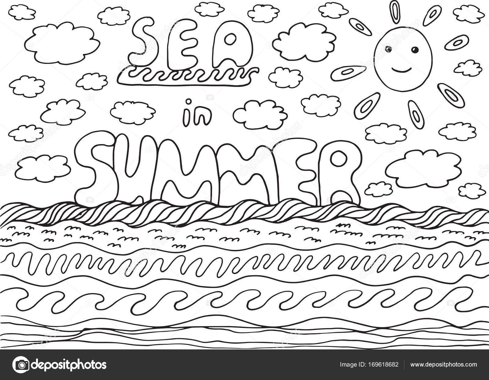 Malvorlagen mit Meer und Sommer Wörter — Stockvektor © fesleen ...