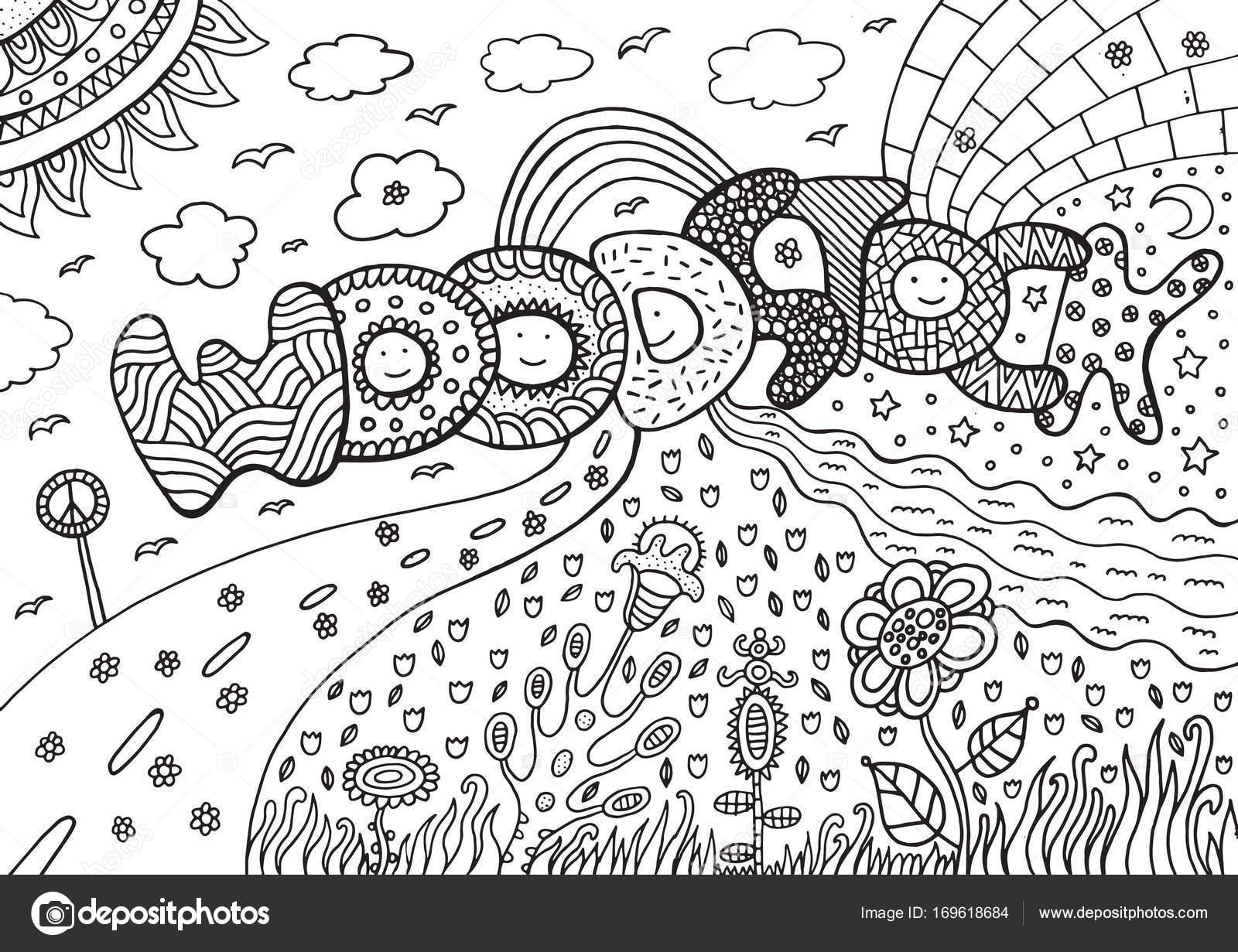 Malvorlagen mit Woodstock Wort — Stockvektor © fesleen #169618684