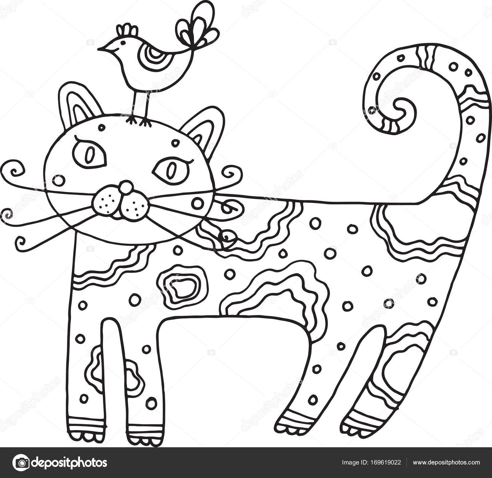 Gato dibujado del cabrito con Ave. Vector aislado línea arte para ...