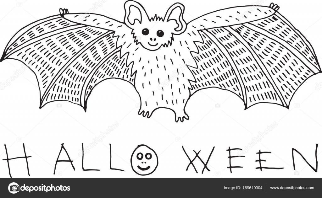 Bosquejo de Doodle y página para colorear con bat y palabra de ...
