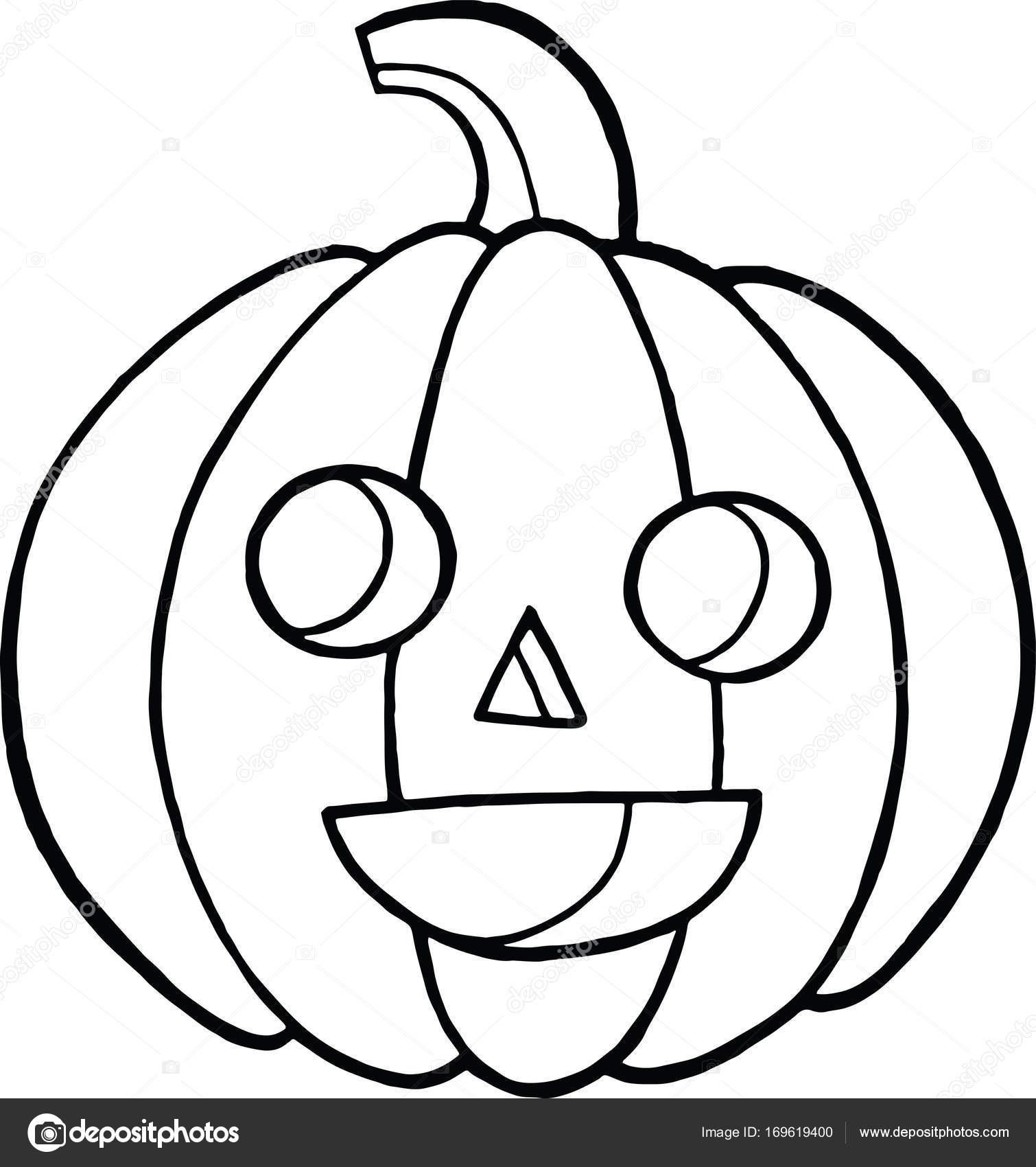 Kleurplaat En Doodle Schets Met Pompoen Voor Halloween