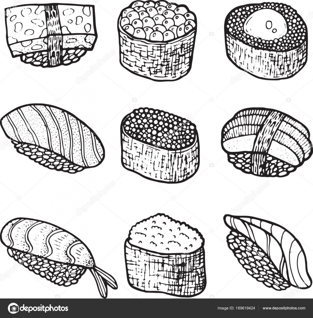Sushi Set Collection Coloring Page For Adult Book Vector Doodl Stock