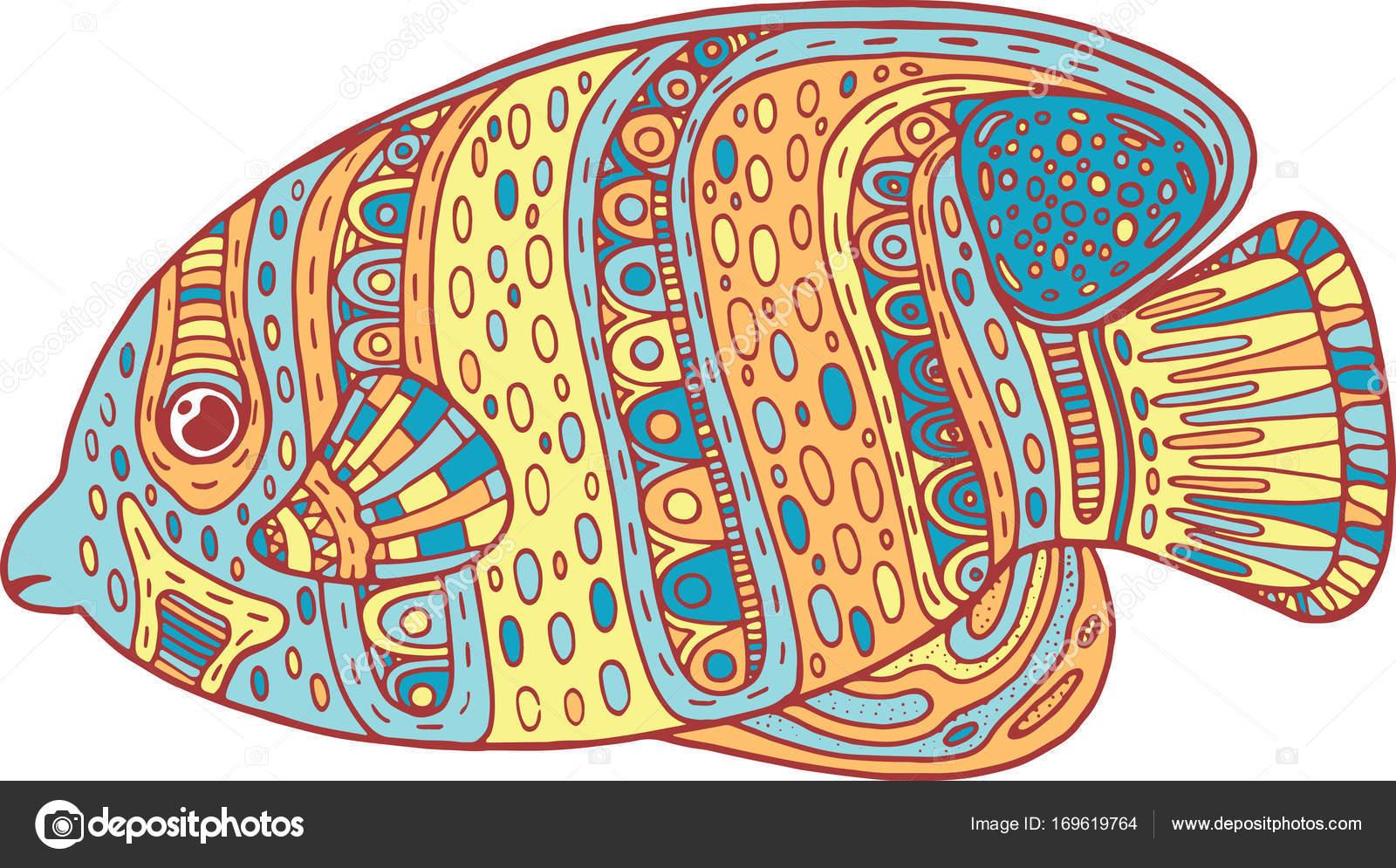 Doodle Zentangle Fisch Zen Kunst Malvorlagen Für Erwachsene