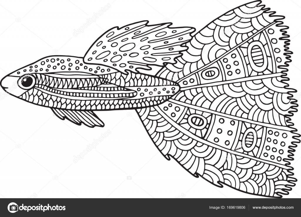Doodle zentangle pescado. Página para colorear con animales marinos ...