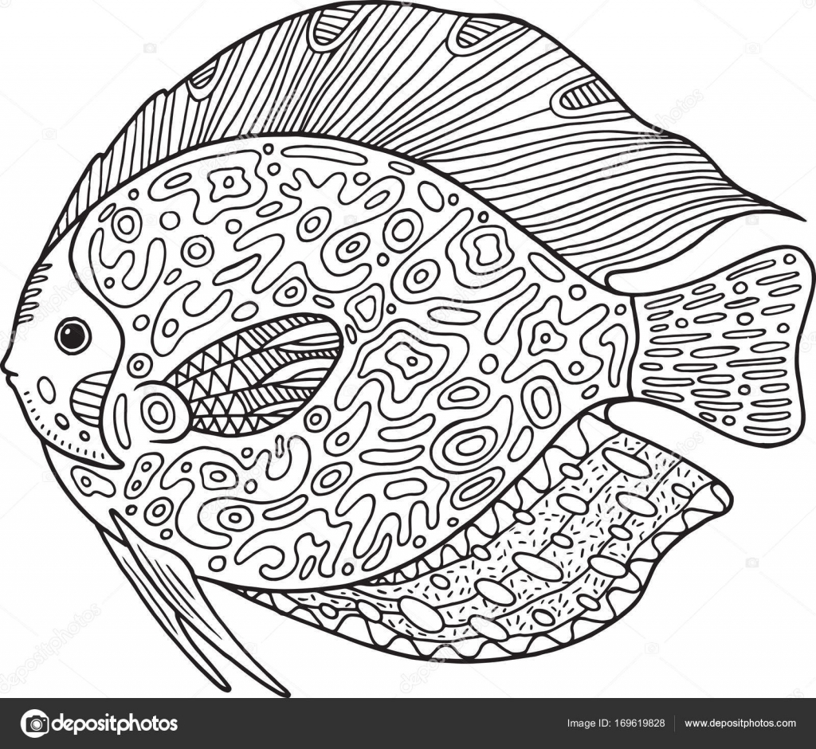 Doodle Zentangle Balık Yetişkinler Için Hayvan Boyama Sayfası