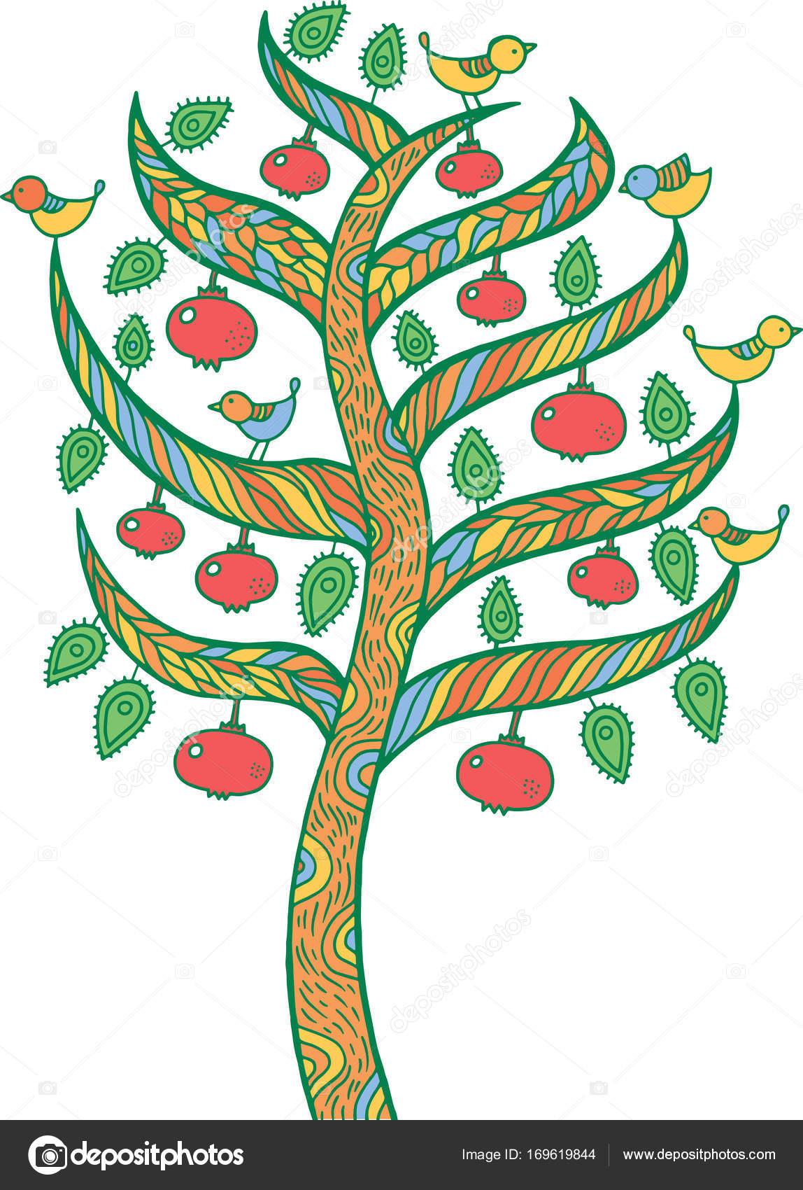 Pomegranate tree - kids illustration. Colorful doodle art drawin ...