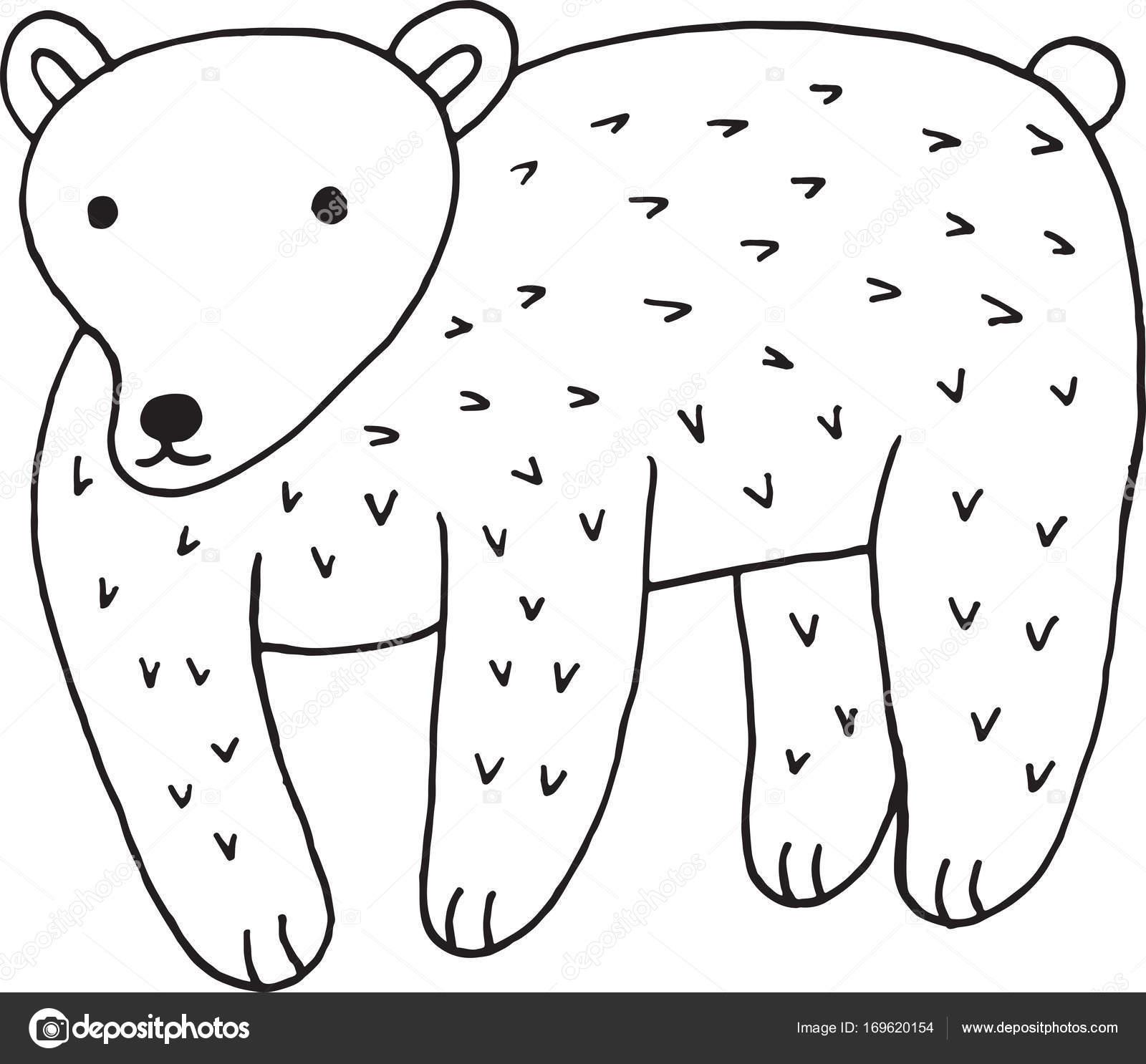 Orman Hayvan Ayı Doodle Karikatür Basit örnek çocuklar çizmek