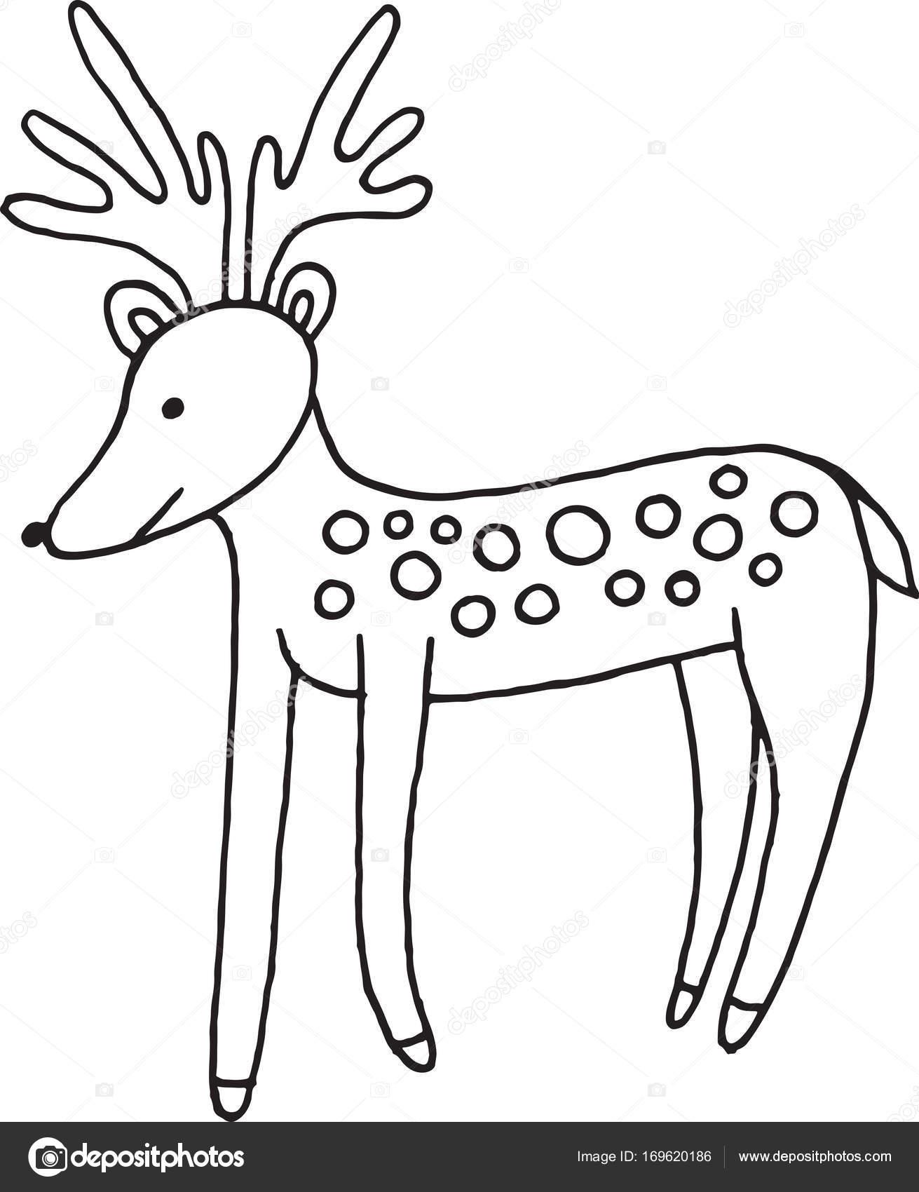 wald tiere hirsch doodle cartoon einfache darstellung kinder zeichnen stockvektor fesleen. Black Bedroom Furniture Sets. Home Design Ideas