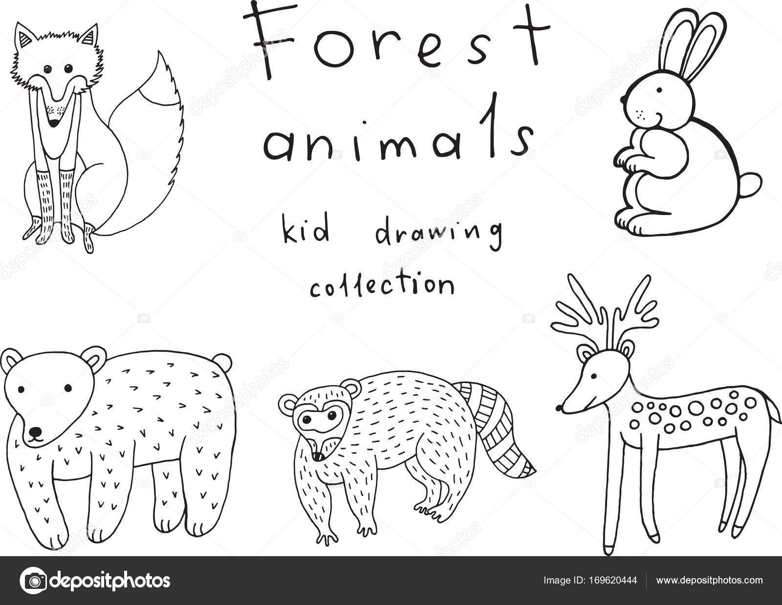 Dibujo de animales a los niños. Doodle colección de divertido ...