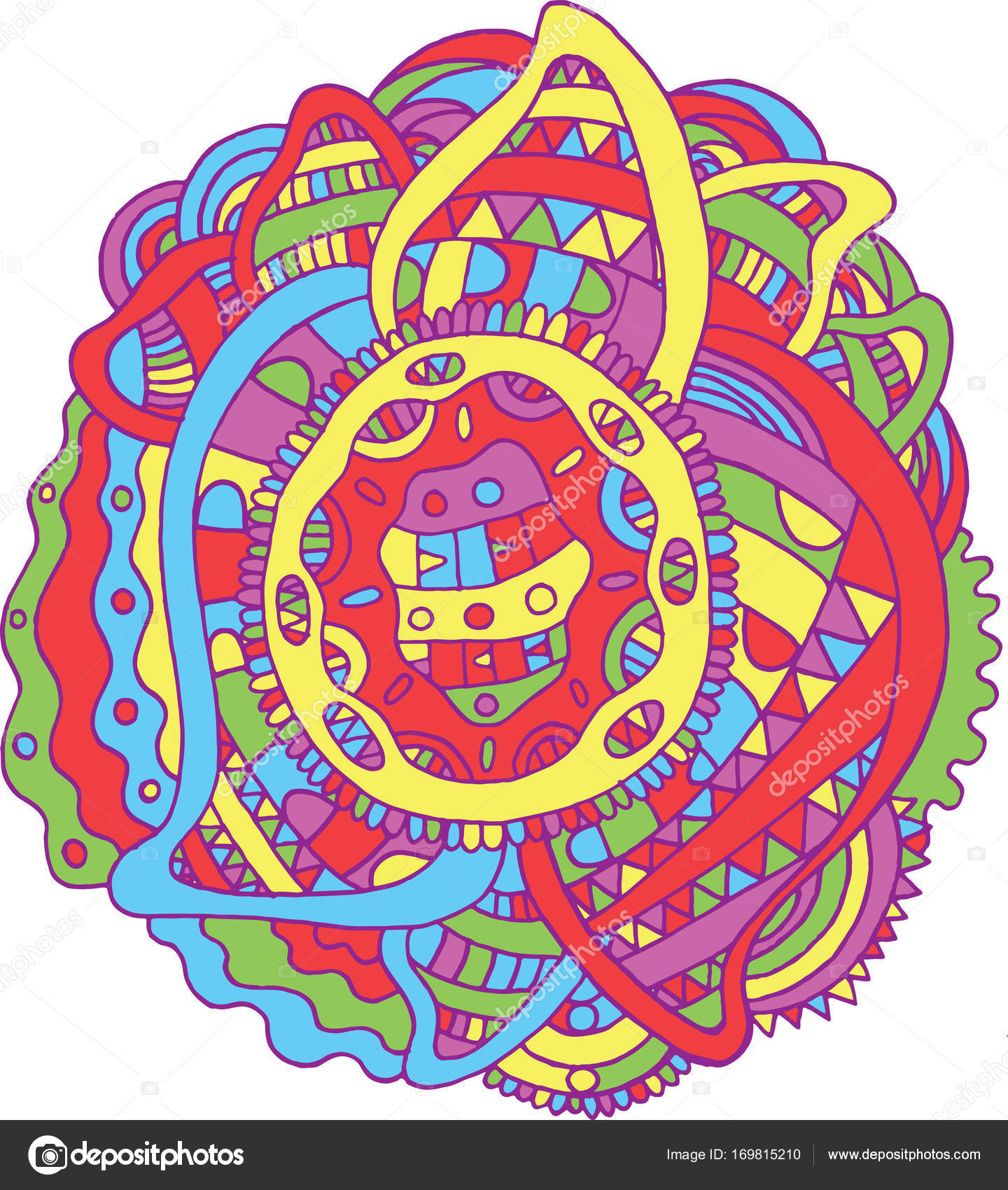 Doodle Mandala - Malvorlagen für Erwachsene. Meditative Boho carto ...