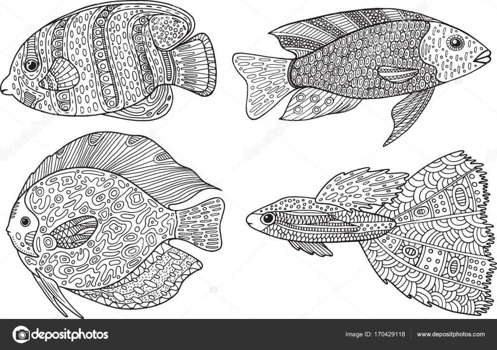 Doodle zentangle pescado arte zen p gina para colorear - Pagine da colorare pesci per adulti ...