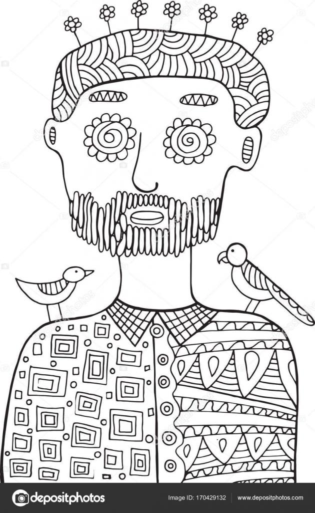 Hombre hipster con pájaros y flores en la cabeza. Página de colorear ...