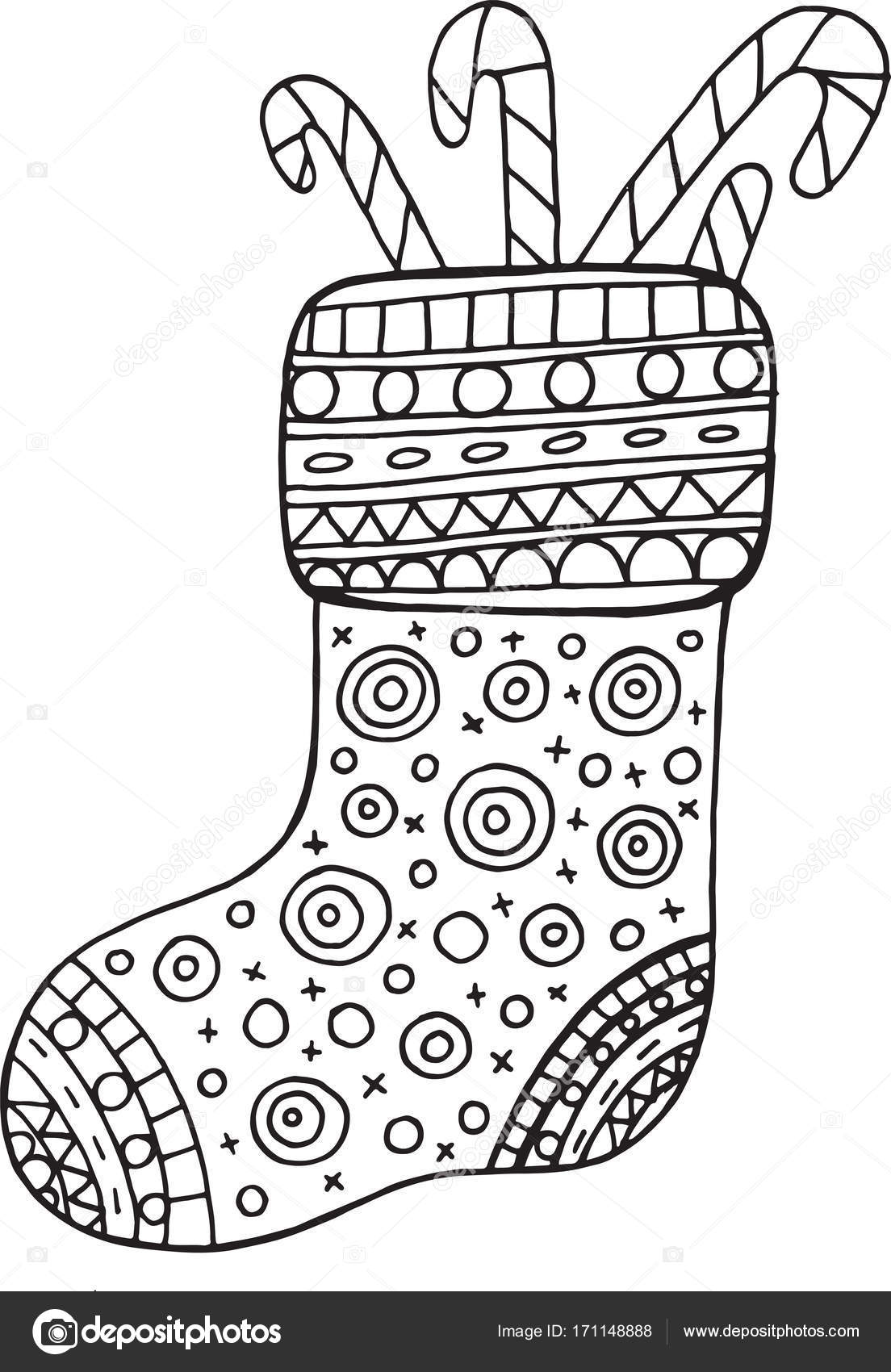 Christmas Boot Coloring Page For Adults And Kids Vector Illustr