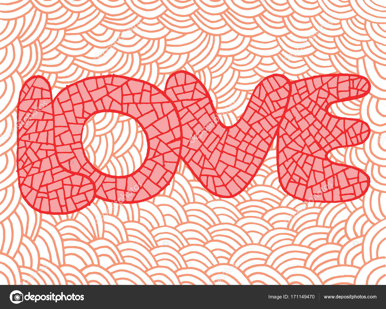 Doodle Art With Love Word Hand Drawn Pink Ilustration For StValentines Day February 14 Vector By Fesleen