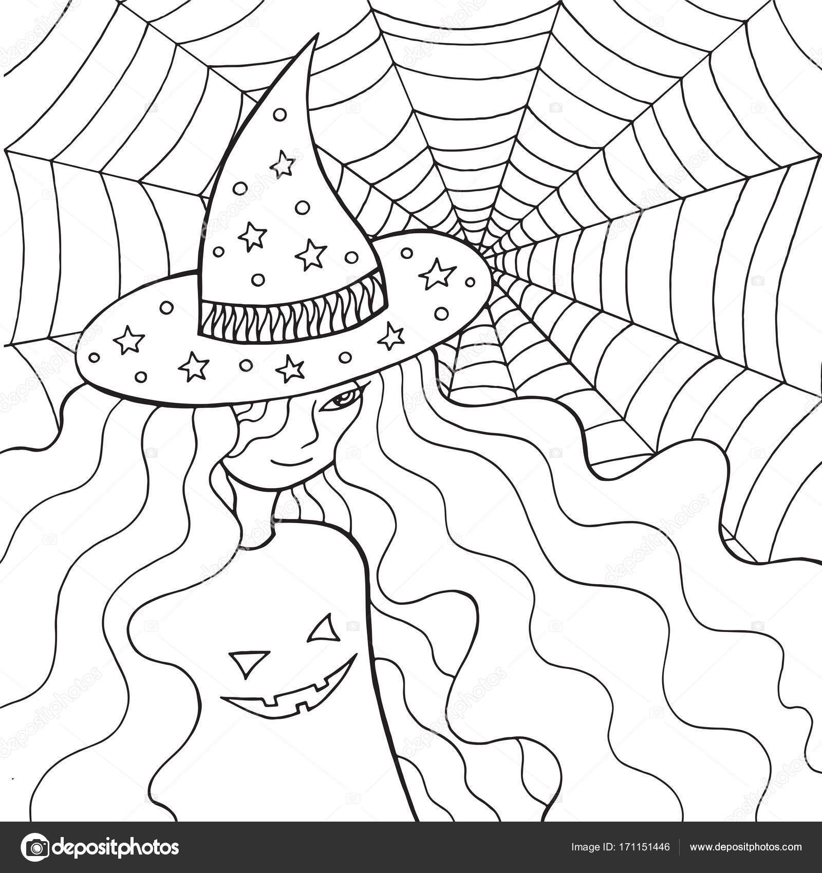 Chica de bruja en el sombrero y la web. Página para colorear para ...