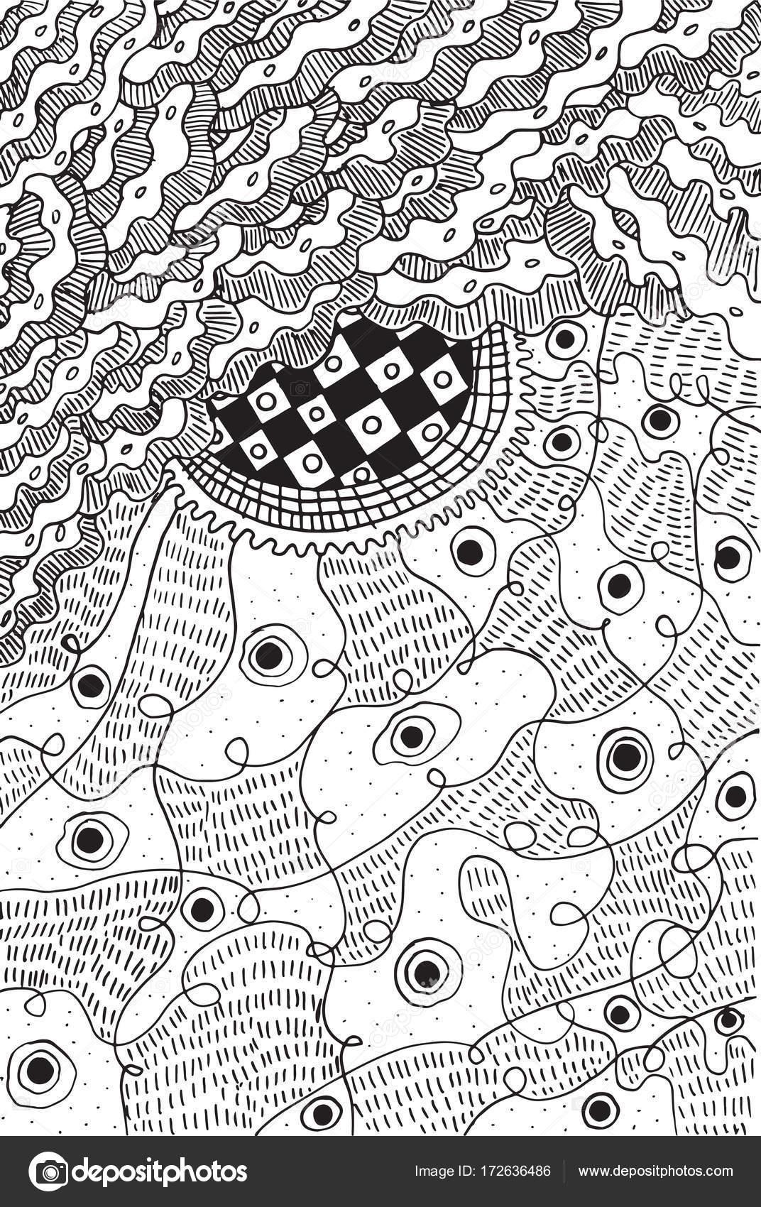 Doodle Surreale Psichedelico Astratto Pagina Da Colorare Per Adulti